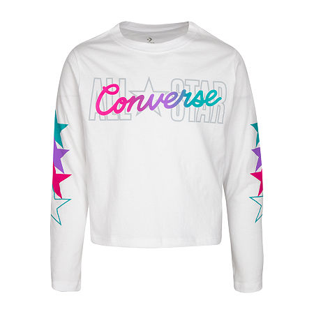 Converse Big Girls Crew Neck Long Sleeve Graphic T-Shirt, Medium , White