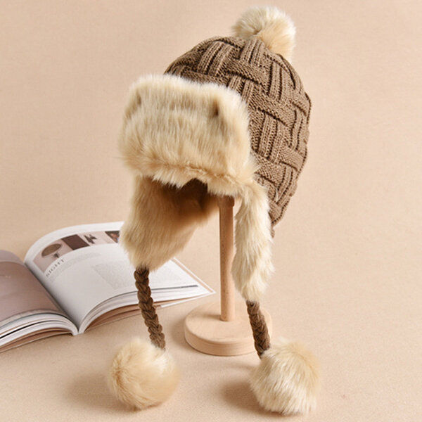Women Winter Warm Plus Plush Knitted Beanies Hat With Earflaps LeiFeng Caps Trapper Hats