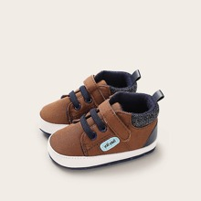 Baby Boy Lace-up Front Velcro Strap Sneakers