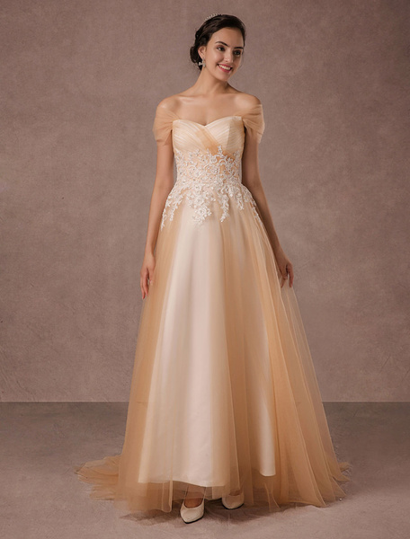 Milanoo Off Shoulder Wedding Dress Champagne Tulle Bridal Gown Beaded Lace With Train