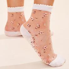 Ditsy Floral Pattern Ruffle Hem Mesh Socks 1pair