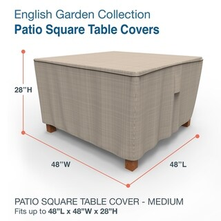 Budge Waterproof Outdoor Square Patio Table Cover, English Garden, Tan Tweed, Multiple Sizes (Medium - 28