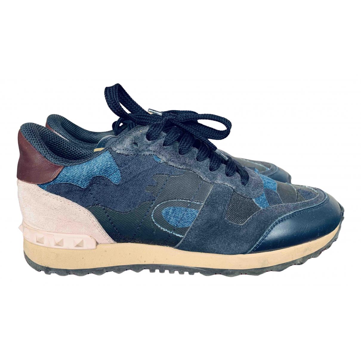 Valentino Garavani Rockrunner Blue Leather Trainers for Women 40 EU