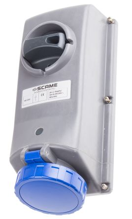 RS PRO IP67 Blue Panel Mount 2P+E Right Angle Industrial Power Socket, Rated At 32.0A, 230.0 V