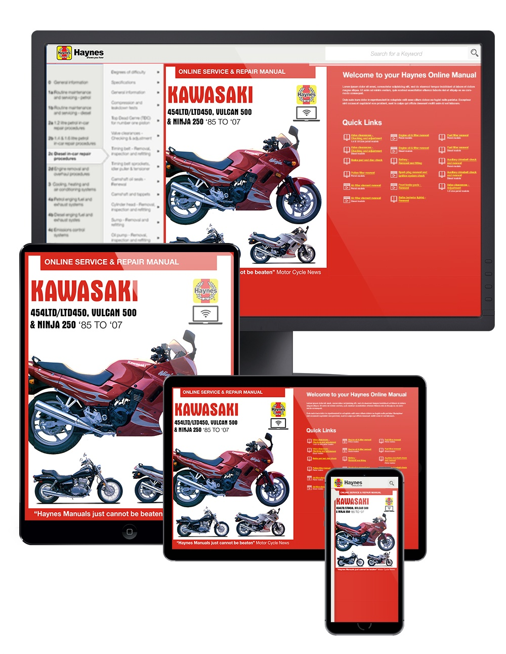 Kawasaki EN450 and 500 Twins Haynes Online Manual covering EN450 (454LTD/LTD450) for 1985 to 1990, EN500 or Vulcan 500 for 1990 to 2007, and EX250 ...