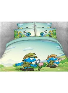 Jungle Smurf Nature Watcher Printed 4-Piece Bedding Sets/Duvet Covers