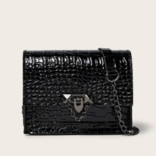 Croc Embossed Chain Crossbody Bag