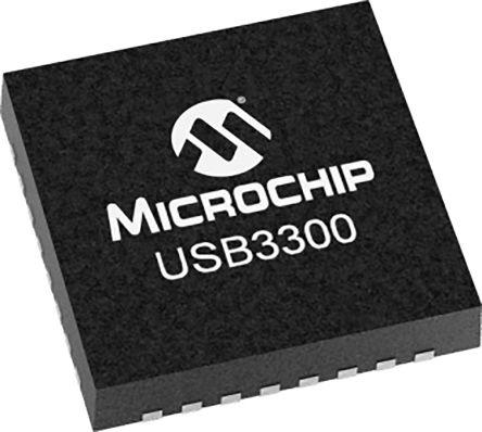 Microchip USB3300-EZK-TR, USB Transceiver, OTG, USB 2.0, UTMI + ULPI 3-Port, 3.3 V, 32-Pin QFN (5000)