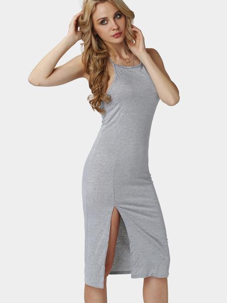 Yoins Sleeveless Lace-up Open Back Side Split Maxi Dress in Light-grey