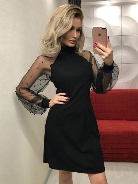 Milanoo Long Sleeve Bodycon Dress Illusion Tulle Beading High Collar Women Party Dress