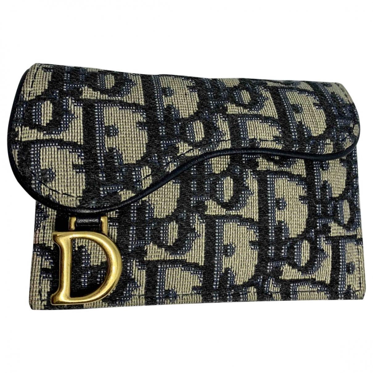 Dior - Petite maroquinerie Saddle pour femme en toile - bleu