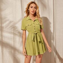 Collared Buttoned Flap Pocket Front Self Belted Cuffed Romper
