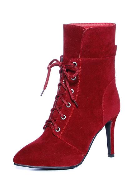 Milanoo Botines de puntera puntiaguada Cuero con apariencia suave Color liso estilo street wear estilo moderno
