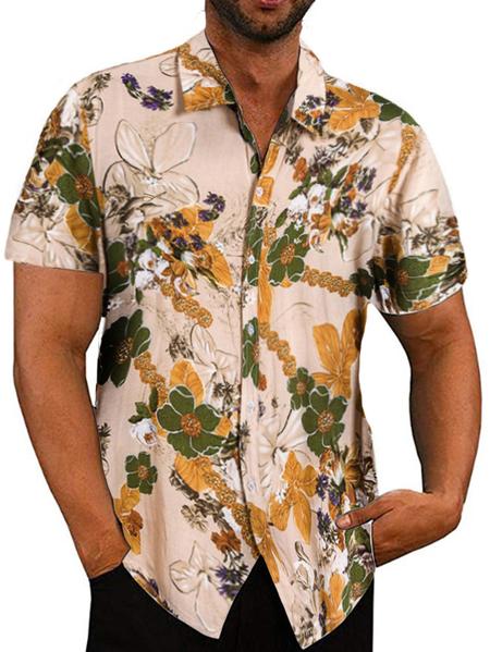Yoins Men Beach Hawaiian Tropical Summer Short Sleeve Shirt