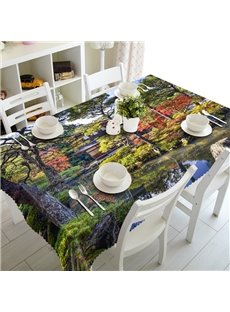 Natural Trees and Pond Park Scenery Prints Washable Dining Room Decoration 3D Tablecloth