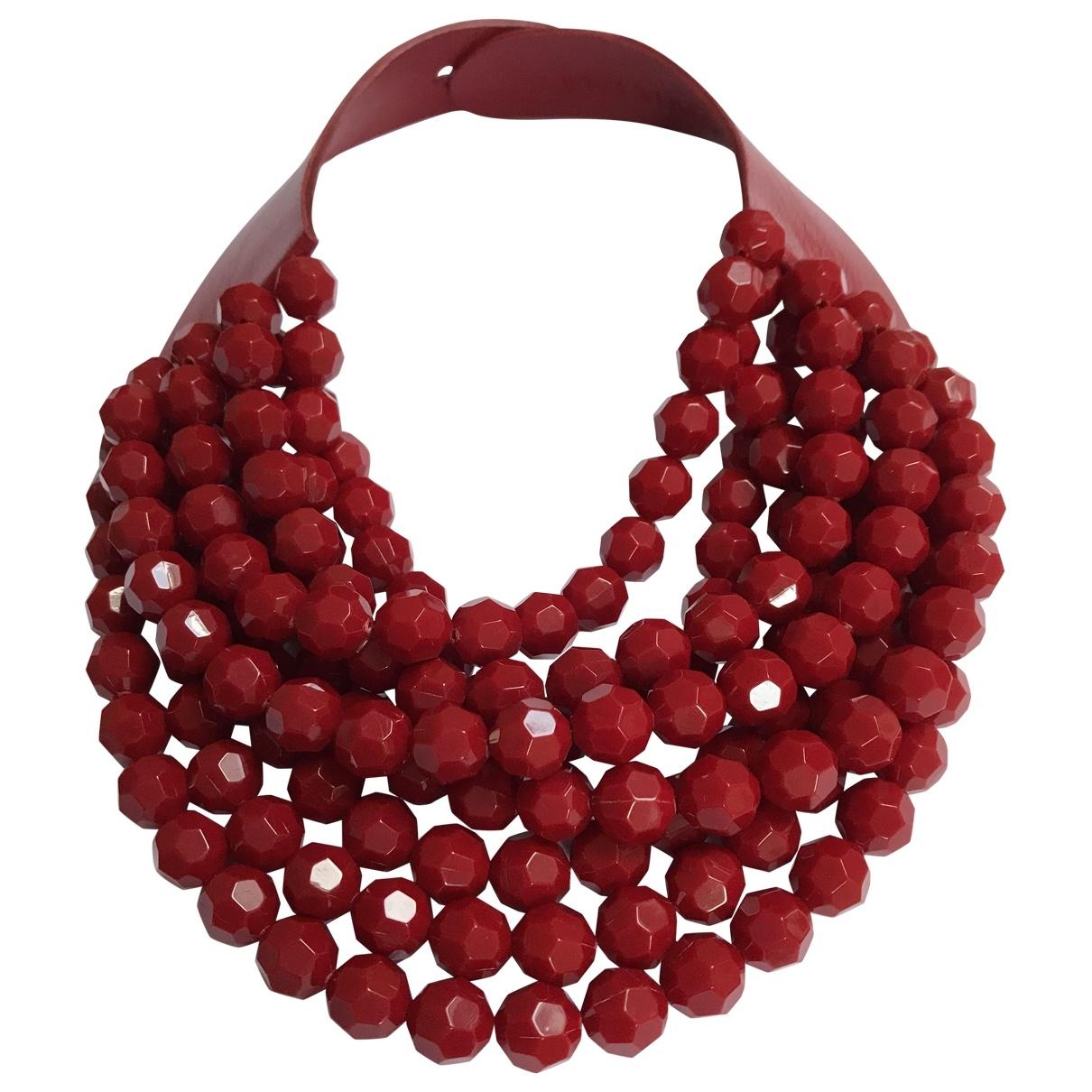 - Collier   pour femme en cuir - rouge