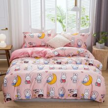 Cartoon Rabbit Print Bedding Set Without Filler