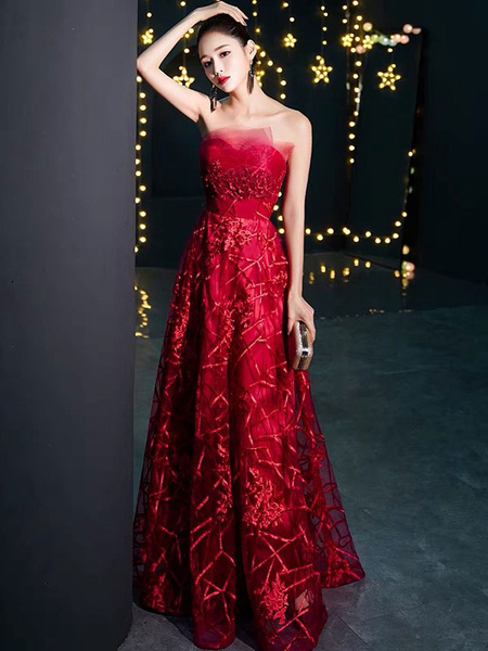 Milanoo Prom Dresses Long Burgundystrapless Lace Formal Evening Gowns