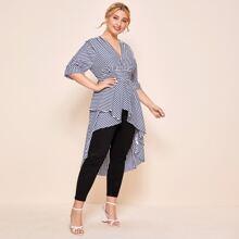 Plus Stripe Print Tunic Blouse