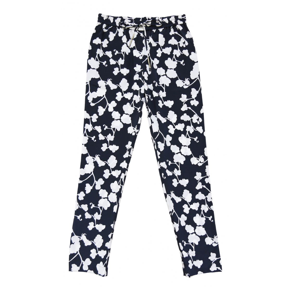 Diane Von Furstenberg \N Navy Cotton Trousers for Women 2 US