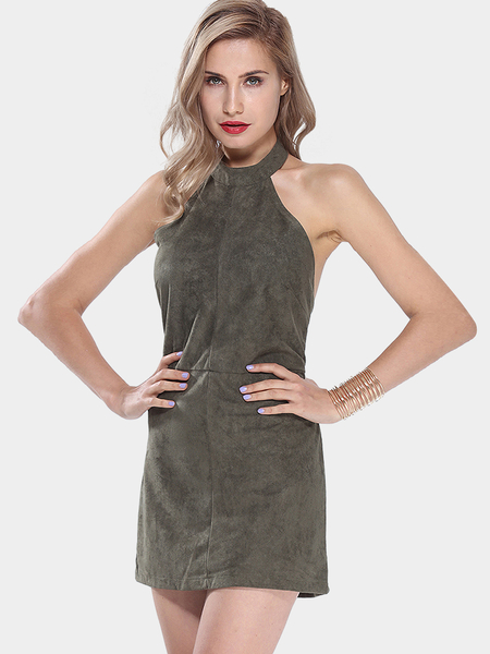 Yoins Saloon Swoon Olive Green Halter Dress