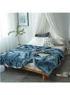 Solid Blue Super Soft Coral Fleece Bed Blankets