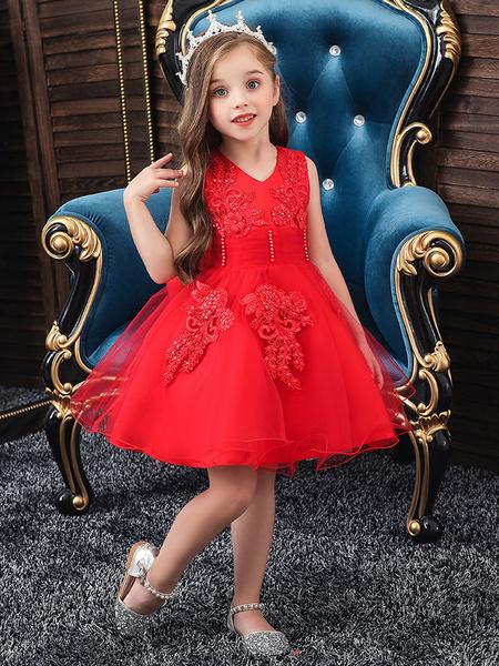 Milanoo Flower Girl Dresses Jewel Neck Polyester Cotton Sleeveless Knee Length Princess Silhouette Bows Formal Kids Pageant Dresses