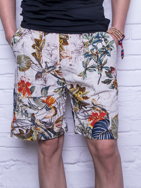 Yoins Men Summer Bohemian Tropical Printed Drawstring Shorts