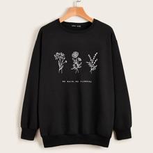 Pullover mit Blumen & Buchstaben Grafik und sehr tief angesetzter Schulterpartie