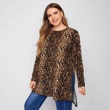 T-Shirt mit Leopard Muster und Stufensaum