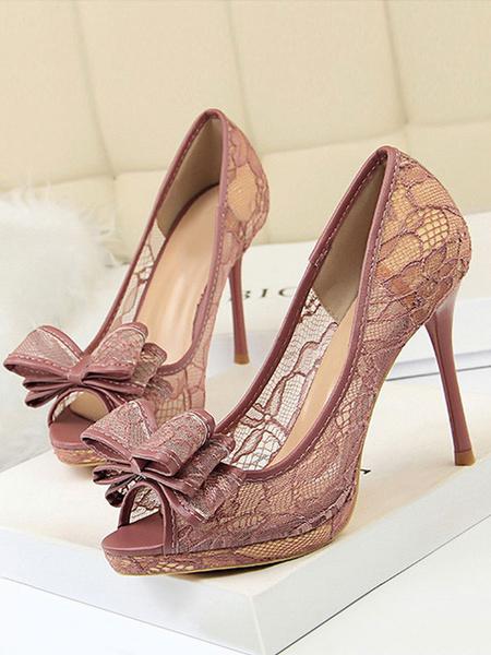 Milanoo Zapatos de tacon de aguja de encaje de tacon alto negro con cordones Zapatos de tacon de aguja de mujer