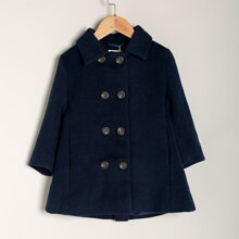 Toddler Girls Solid Double-breasted Overcoat