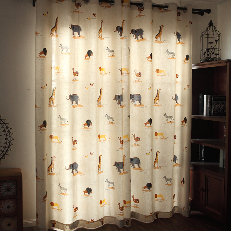 Decoration and Blackout Polyester Printing Animals on Grassland Grommet Top Curtain