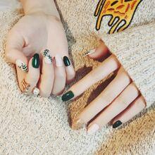 24pcs Glitter & Plaid Pattern Fake Nail