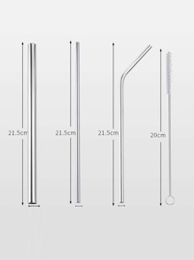 3pcs Stainless Steel Straw & 1pc Cleaning Brush