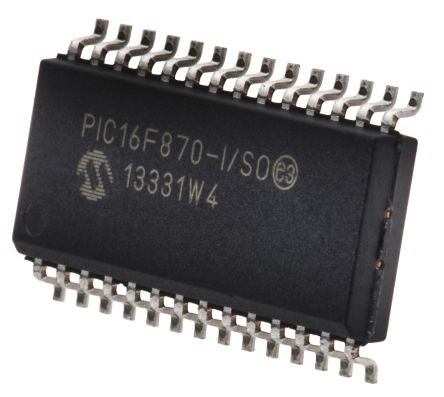 Microchip PIC16F870-I/SO, 8bit PIC Microcontroller, PIC16F, 20MHz, 2K x 14 words, 64 x 8 words Flash, 28-Pin SOIC