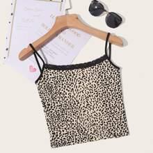 Plus Contrast Lace Trim Leopard Cami Top