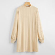 Solid Drop Shoulder Rib-knit Dress