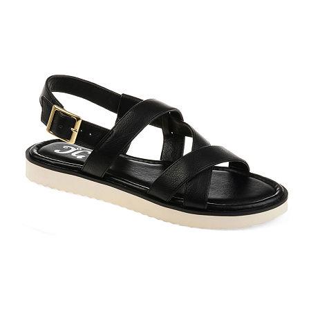 Journee Collection Womens Aiden Criss Cross Strap Flat Sandals, 9 Medium, Black