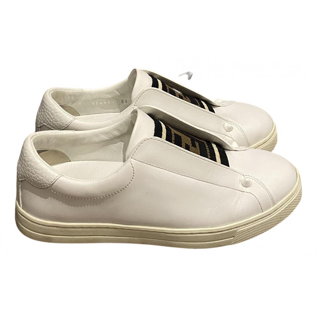 Fendi - Baskets   pour femme en cuir - blanc