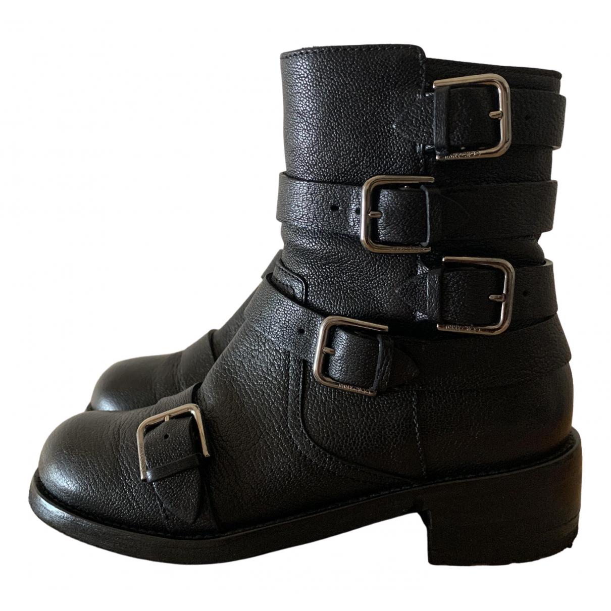 Jimmy Choo Hank flat Black Leather Ankle boots for Women 35 EU