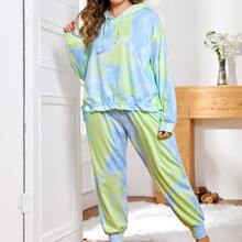 Schlafanzug Set mit Batik, Kordelzug und Kapuze