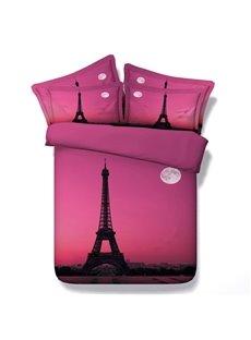 Pink Romantic Eiffel Tower Print 5-Piece Comforter Sets