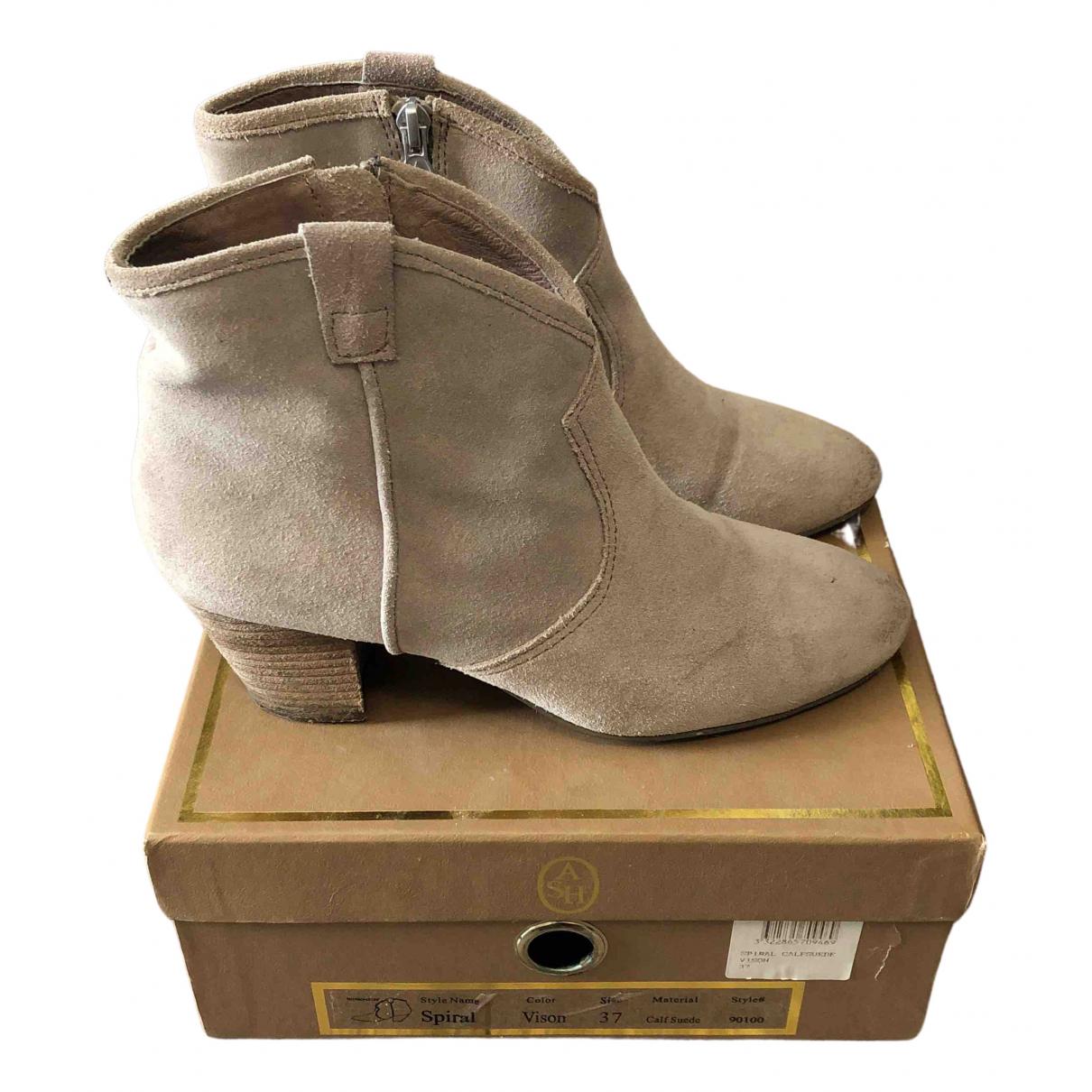 Ash - Boots   pour femme en suede - beige
