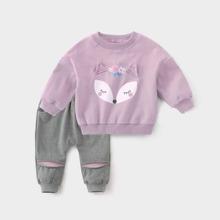 Toddler Girls Cartoon & Floral Print Sweatshirt With Sweatpants