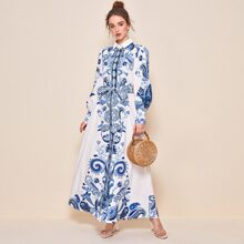 Collared Buttoned Front Self Belted Paisley Print Dress