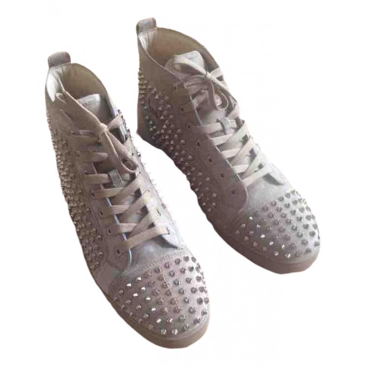 Christian Louboutin Louis Sneakers in  Beige Veloursleder