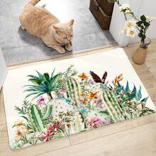 Alfombra de piso con estampado de racimo de flor