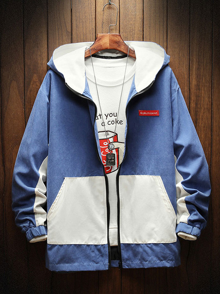 Milanoo Men\\'s Hooded Jackets Full Zip Regular Fit Lightweight Spring Jacket With Pocket