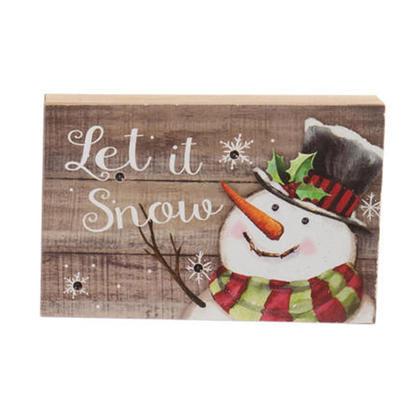 Christmas LED Snowman Light-Up Wooden Block Decoration 5.9
